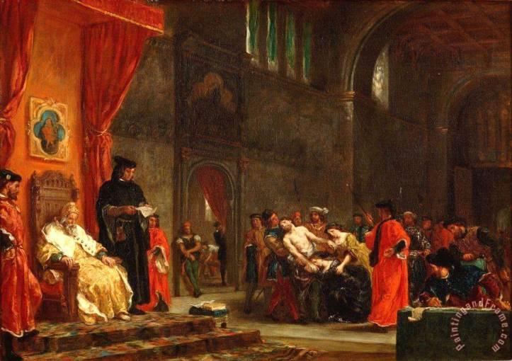 Les Deux Foscari Painting by Eugene Delacroix.